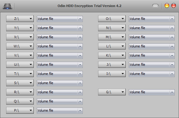 Odin Hard Disk Drive Encryption Screenshot