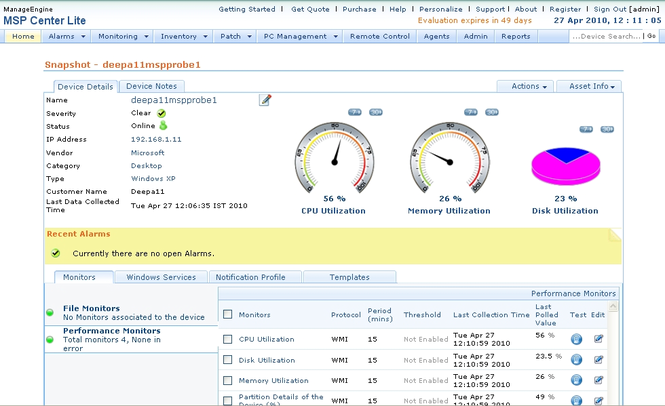 ManageEngine MSP Center Lite Screenshot