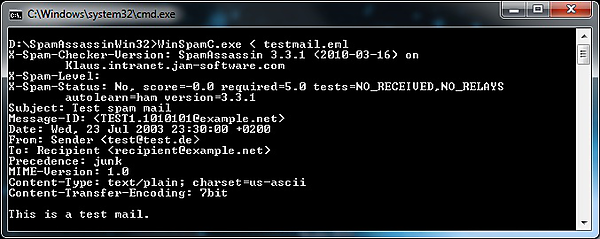 SpamAssassin for Windows Screenshot