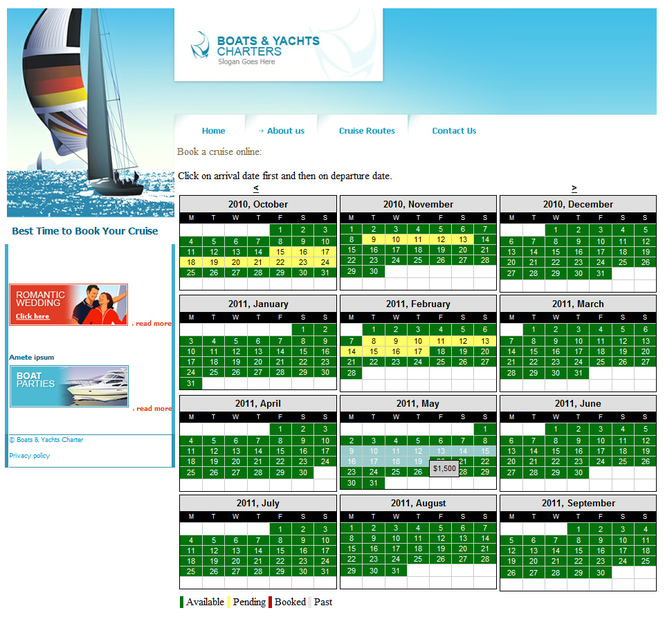 Online Rental System - Multi Day Booking Screenshot