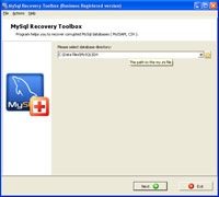 MySql Recovery Toolbox Screenshot