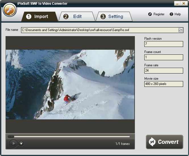 iPixSoft SWF to Video Converter Screenshot 1