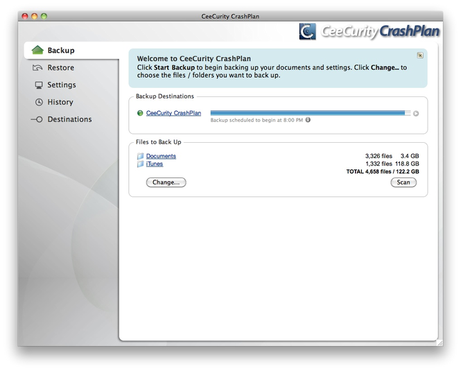 CeeCurity CrashPlan for Mac Screenshot