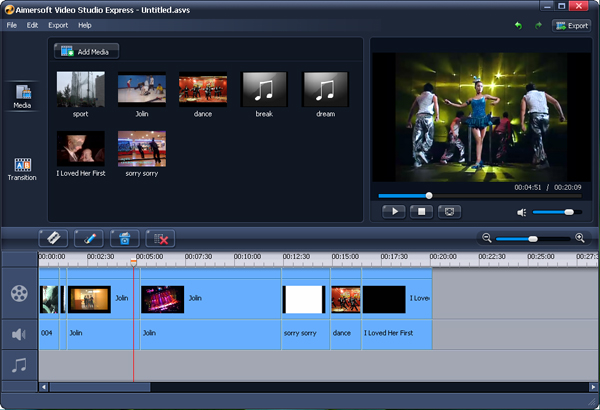 Aimersoft Video Studio Express Screenshot