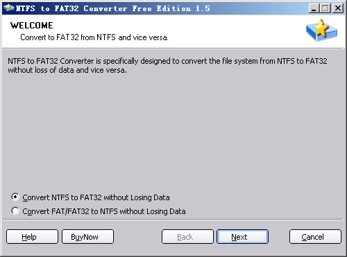 NTFS to FAT32 Converter Screenshot
