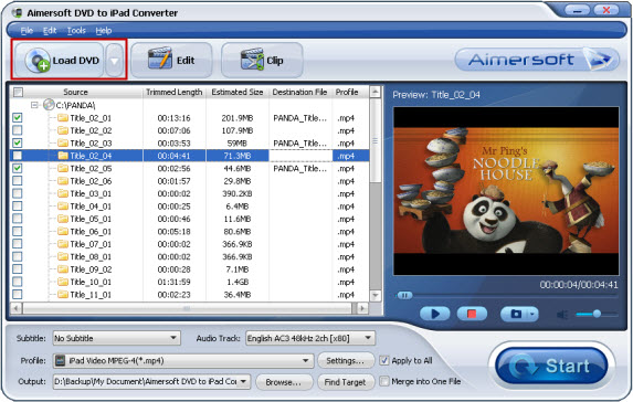 Daniusoft DVD to iPad Converter Screenshot 2