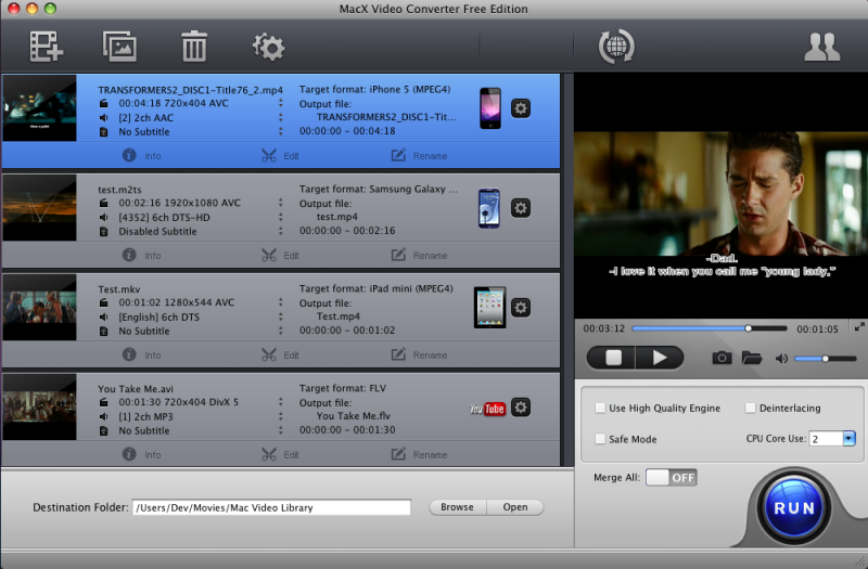 MacX Video Converter Free Edition Screenshot 2