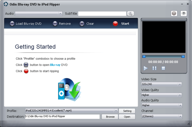 Odin Bluray DVD to iPod Ripper Screenshot