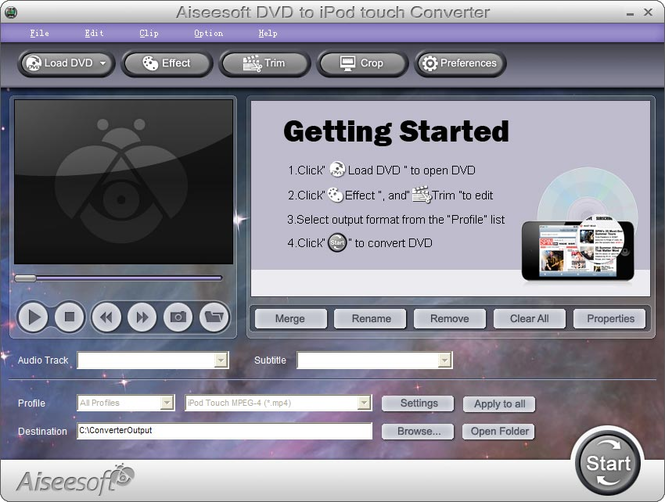 Aiseesoft DVD to iPod touch Converter Screenshot 1