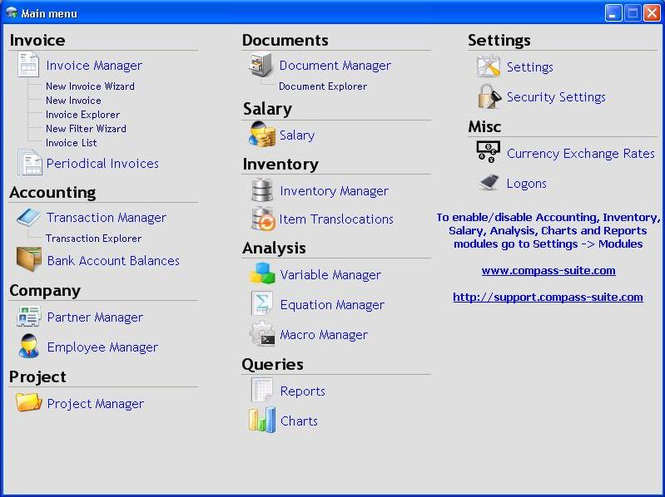 Compass Business Management Suite Screenshot