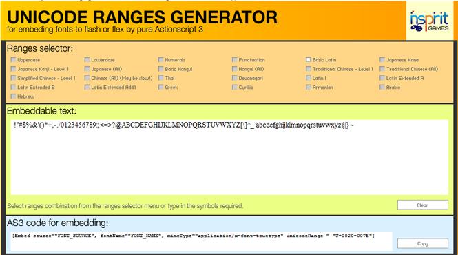 Unicode range generator Screenshot