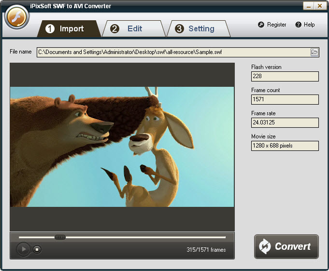 iPixSoft SWF to AVI Converter Screenshot 1