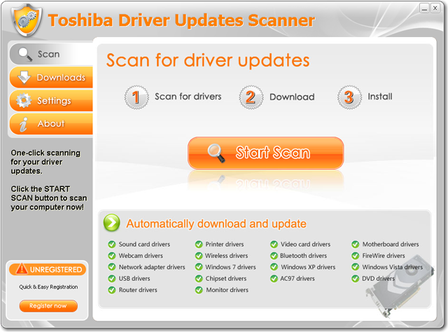 Toshiba Driver Updates Scanner Screenshot