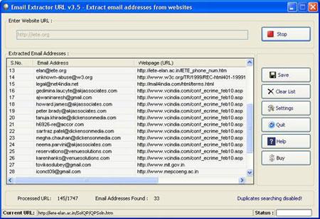 Email Extractor URL Screenshot