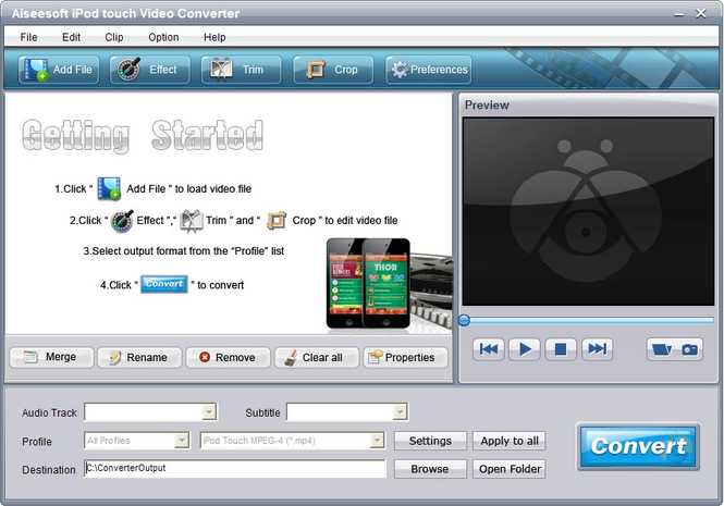 Aiseesoft iPod touch Video Converter Screenshot
