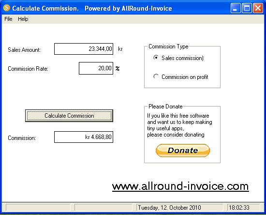 Sales Commission Calculator Screenshot 1