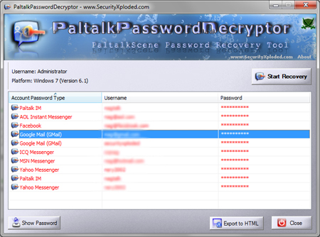 PaltalkPasswordDecryptor Screenshot 2