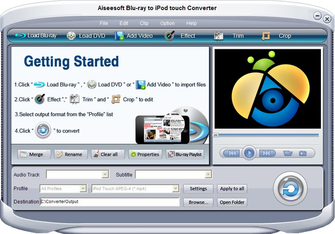 Aiseesoft Blu-ray iPod touch Converter Screenshot