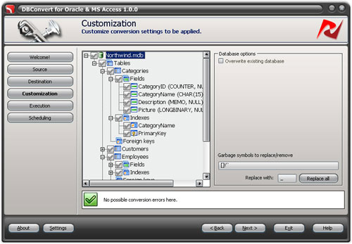 DBConvert for Oracle and Access Screenshot