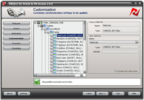 DBSync for Oracle and Access Screenshot 1