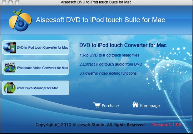 Aiseesoft Mac DVD to iPod touch Suite Screenshot