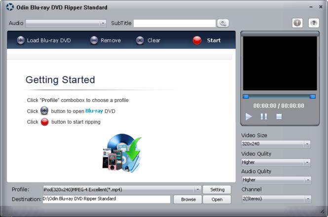 Odin Blue Ray DVD Ripper Standard Screenshot