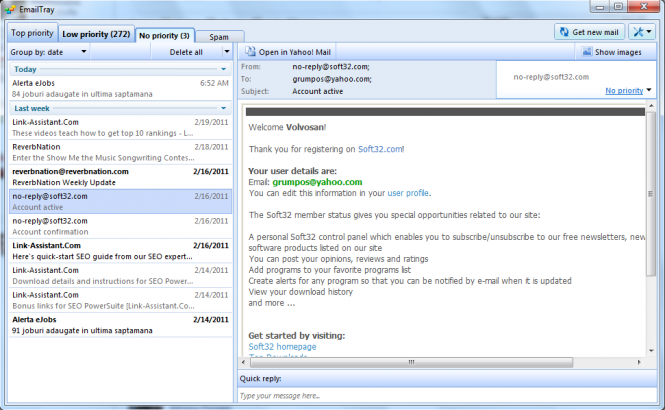 EmailTray Screenshot 2