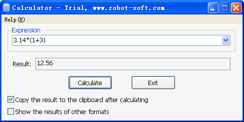RobotSoft Calculator Screenshot