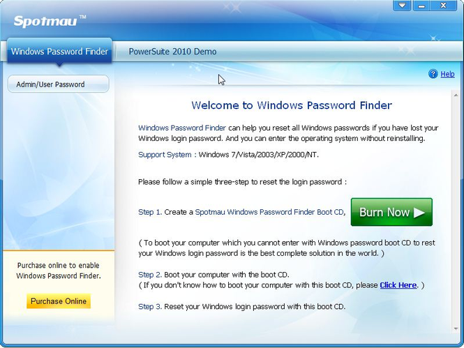 Spotmau Windows Password Finder 2010 Screenshot 1