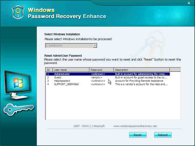 Windows Password Recovery Corporation Screenshot