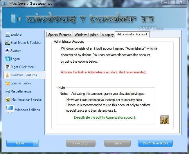 Windows 7 Tweaker Screenshot 4