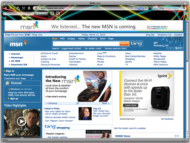 Neon Lights Internet Explorer Theme Screenshot 1