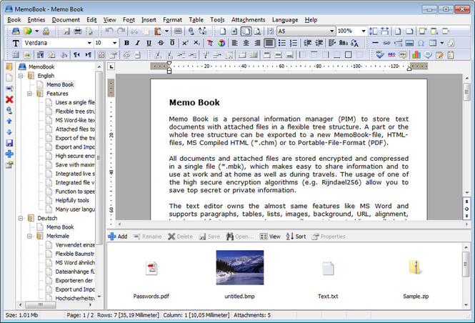 Memo Book Screenshot