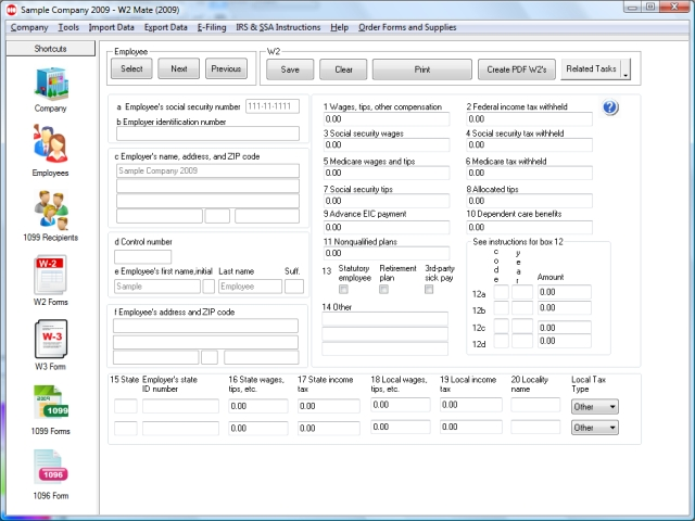 W2 Mate W2 1099 Print EFile Software Screenshot