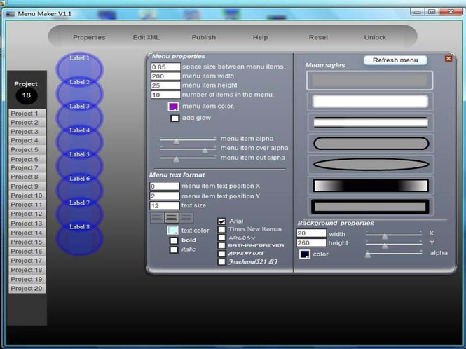 CellSoftNet Menu Maker Screenshot