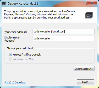 CodeTwo Outlook AutoConfig Screenshot
