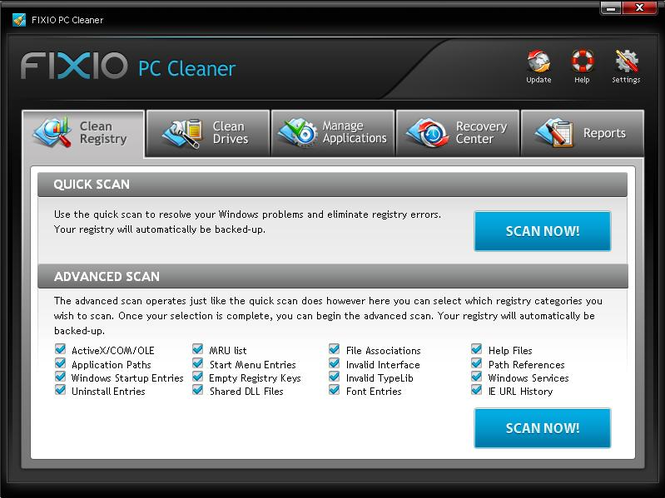Fixio PC Cleaner 2010 Screenshot
