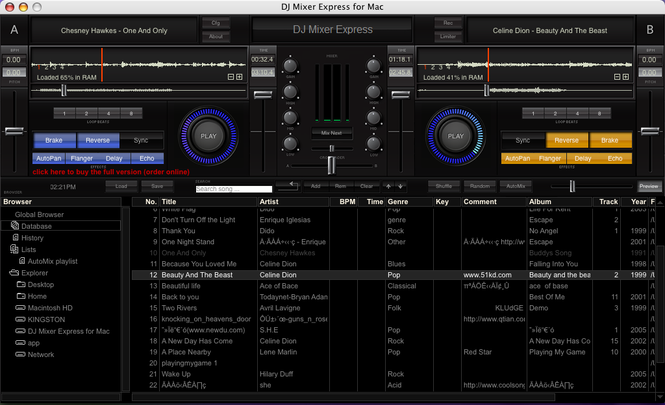 DJ Mixer Express for Mac Screenshot 1