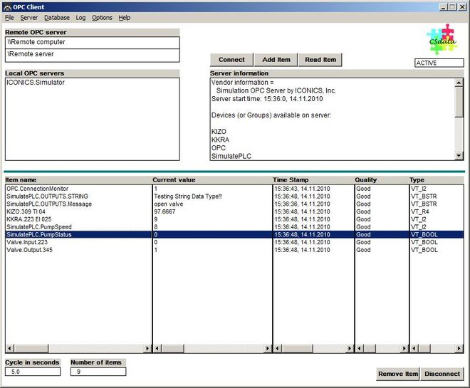 OPC Client Screenshot 1