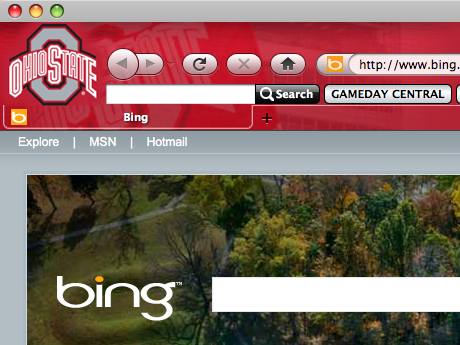 OSU Buckeyes Firefox Browser Theme Screenshot