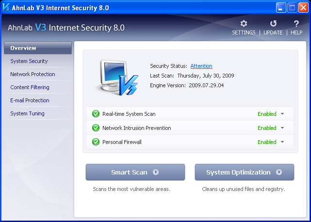 V3 Internet Security Screenshot 1