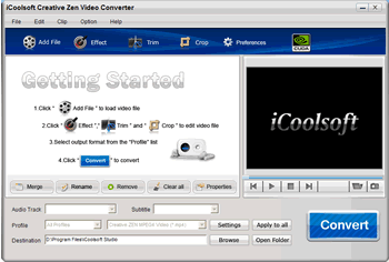 iCoolsoft Creative Zen Video Converter Screenshot