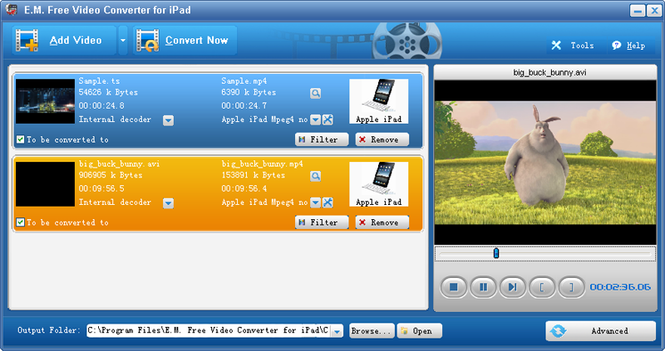 E.M. Free Video Converter for iPad Screenshot