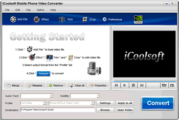 iCoolsoft Mobile Phone Video Converter Screenshot