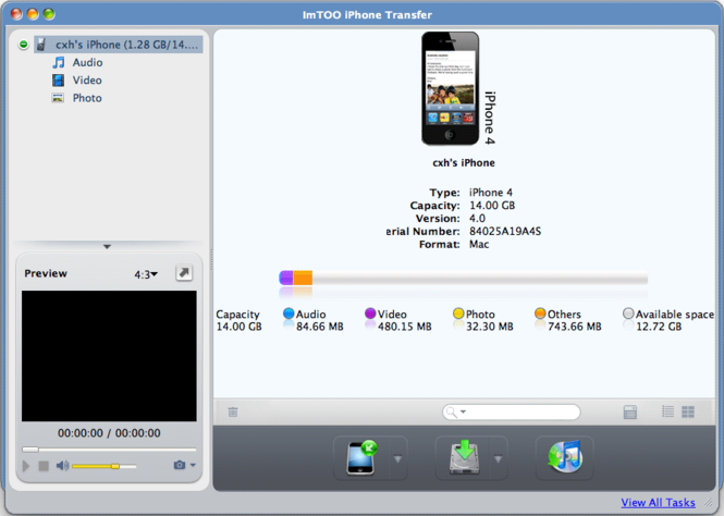 ImTOO iPhone Transfer for Mac Screenshot