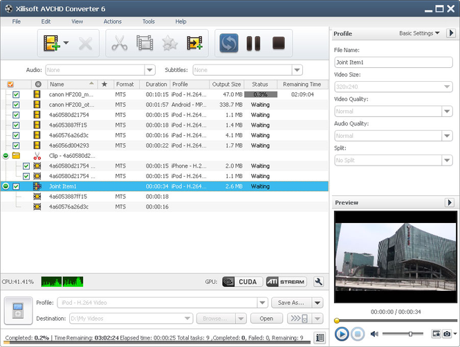 Xilisoft AVCHD Converter Screenshot