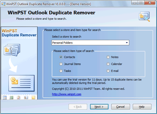 WinPST Outlook Duplicate Remover Screenshot