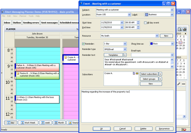 Short Messaging Planner Screenshot 1