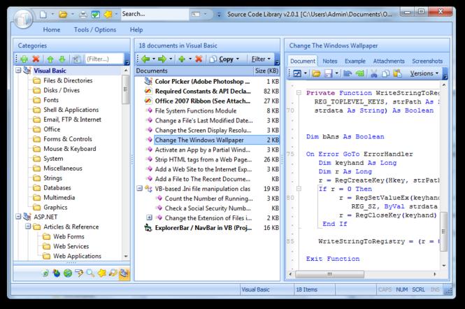 ASP.NET Code Library Screenshot 1