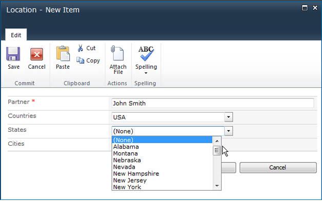 SharePoint Cascaded Lookup Screenshot 1